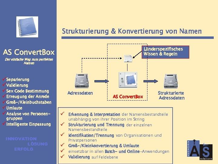 Strukturierung & Konvertierung von Namen Länderspezifisches Wissen & Regeln AS Convert. Box Der einfache