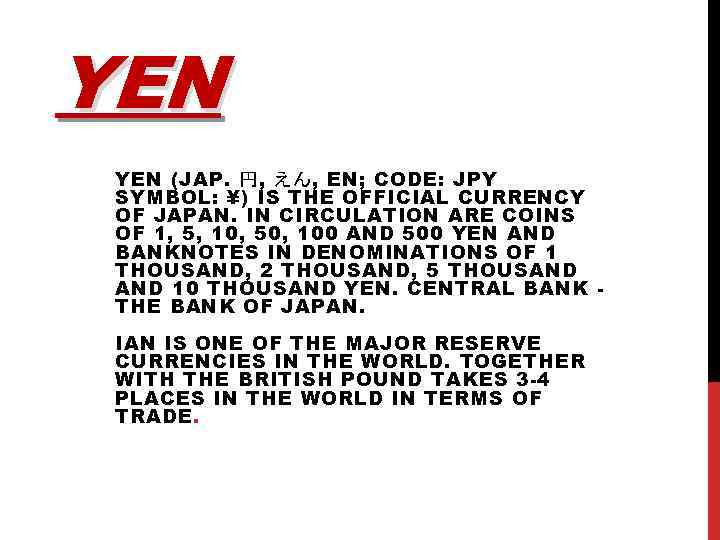 Yen Jap En Code Jpy Symbol
