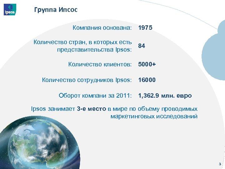 Группа Ипсос Компания основана: Количество стран, в которых есть представительства Ipsos: 1975 84 Количество