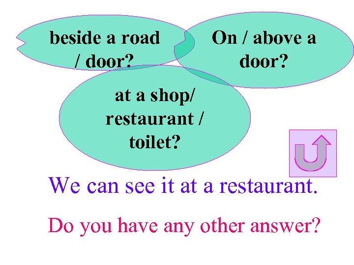 beside a road / door? On / above a door? at a shop/ restaurant