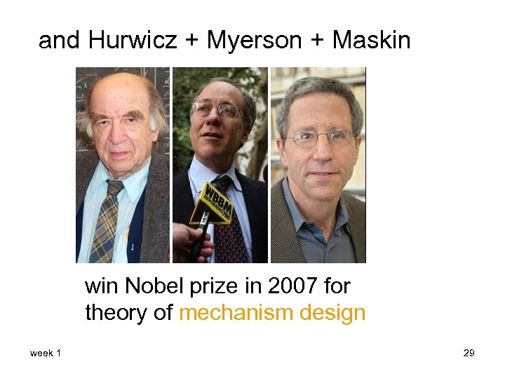 and Hurwicz + Myerson + Maskin win Nobel prize in 2007 for theory of