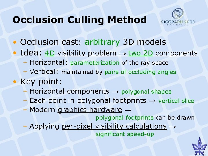 Occlusion Culling Method • Occlusion cast: arbitrary 3 D models • Idea: 4 D