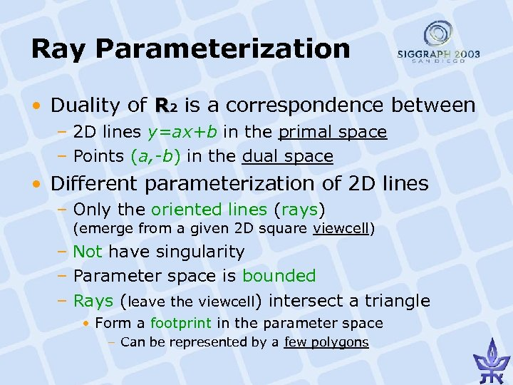 Ray Parameterization • Duality of R 2 is a correspondence between – 2 D