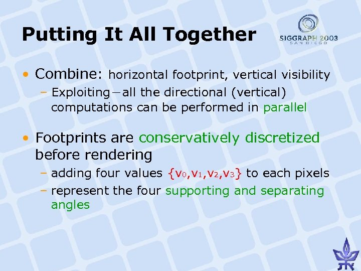 Putting It All Together • Combine: horizontal footprint, vertical visibility – Exploiting-all the directional