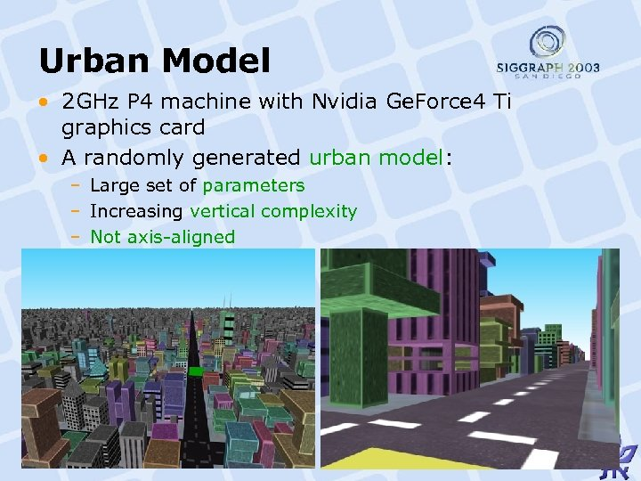 Urban Model • 2 GHz P 4 machine with Nvidia Ge. Force 4 Ti