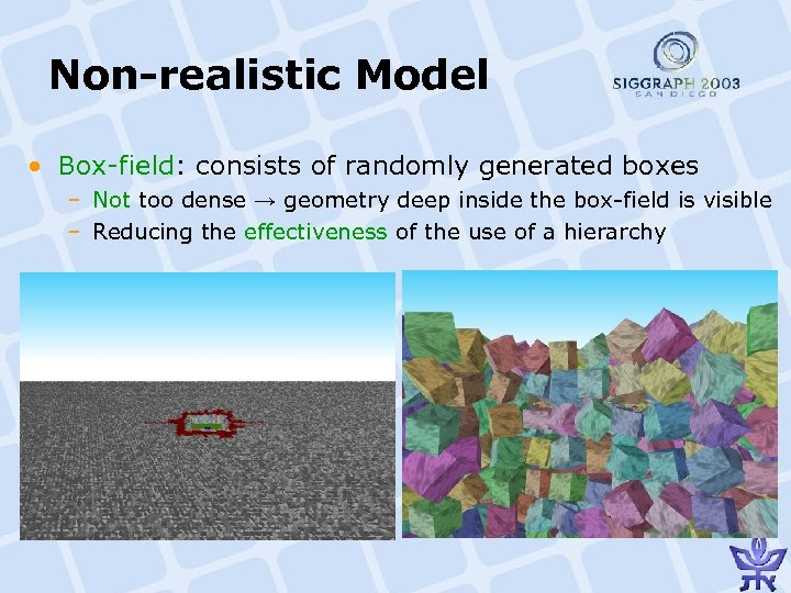 Non-realistic Model • Box-field: consists of randomly generated boxes – Not too dense →