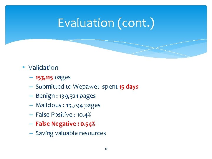 Evaluation (cont. ) • Validation – – – – 153, 115 pages Submitted to