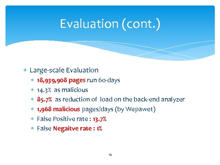 Evaluation (cont. ) Large-scale Evaluation 18, 939, 908 pages run 60 -days 14. 3%