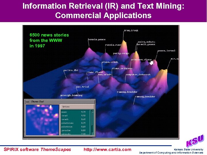 Information Retrieval (IR) and Text Mining: Commercial Applications 6500 news stories from the WWW
