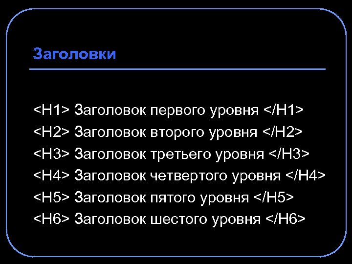 Заголовки <H 1> Заголовок первого уровня </H 1> <H 2> Заголовок второго уровня </H