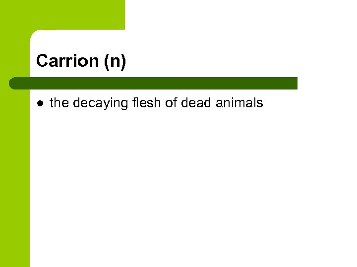Carrion (n) l the decaying flesh of dead animals