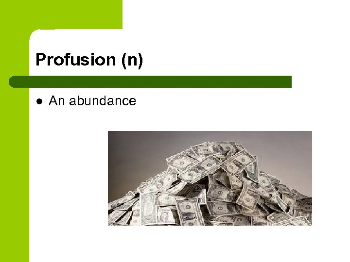 Profusion (n) l An abundance
