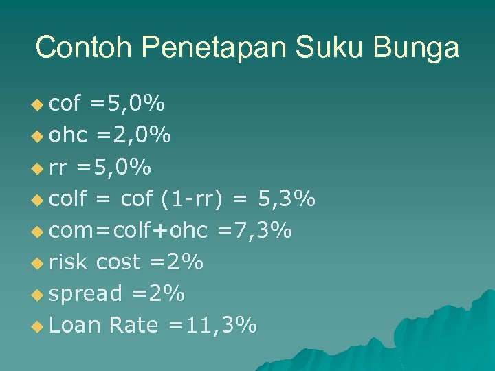 Contoh Penetapan Suku Bunga u cof =5, 0% u ohc =2, 0% u rr