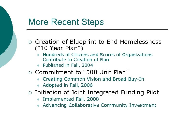 "More Recent Steps ¡ Creation of Blueprint to End Homelessness ("" 10 Year Plan"")"