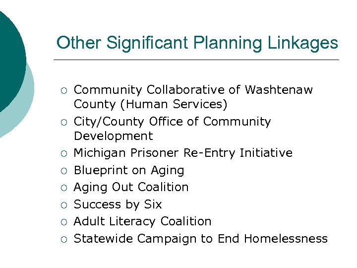Other Significant Planning Linkages ¡ ¡ ¡ ¡ Community Collaborative of Washtenaw County (Human