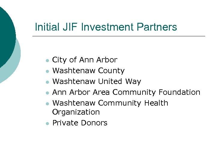 Initial JIF Investment Partners l l l City of Ann Arbor Washtenaw County Washtenaw