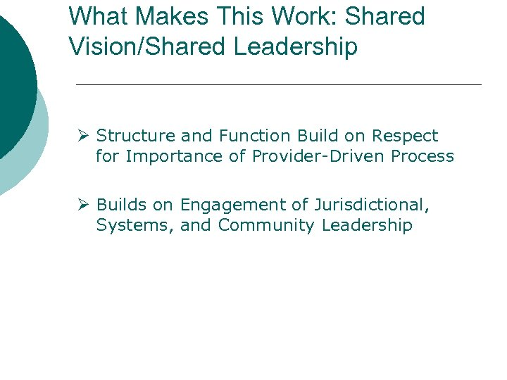 What Makes This Work: Shared Vision/Shared Leadership Ø Structure and Function Build on Respect