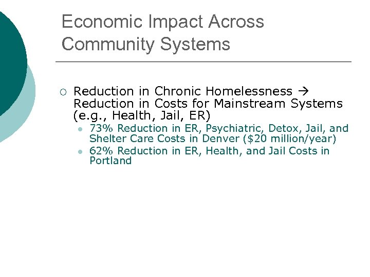 Economic Impact Across Community Systems ¡ Reduction in Chronic Homelessness Reduction in Costs for