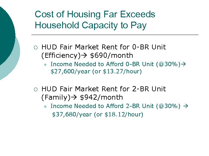 Cost of Housing Far Exceeds Household Capacity to Pay ¡ HUD Fair Market Rent