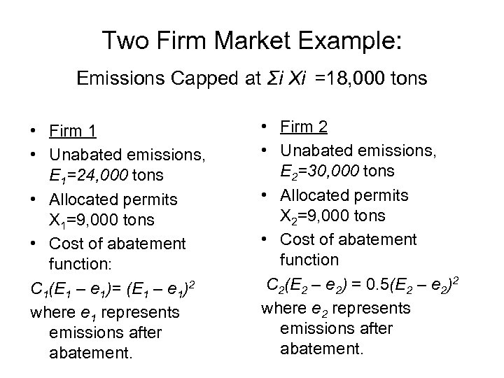 Two Firm Market Example: Emissions Capped at Σi Xi =18, 000 tons • Firm