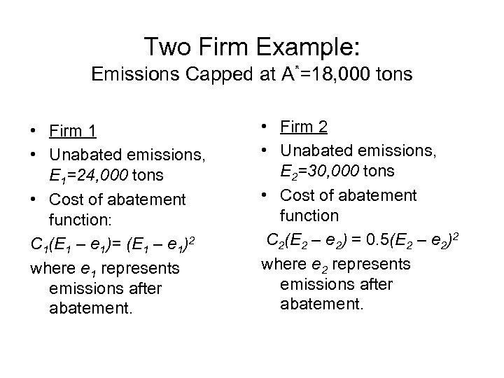 Two Firm Example: Emissions Capped at A*=18, 000 tons • Firm 1 • Unabated