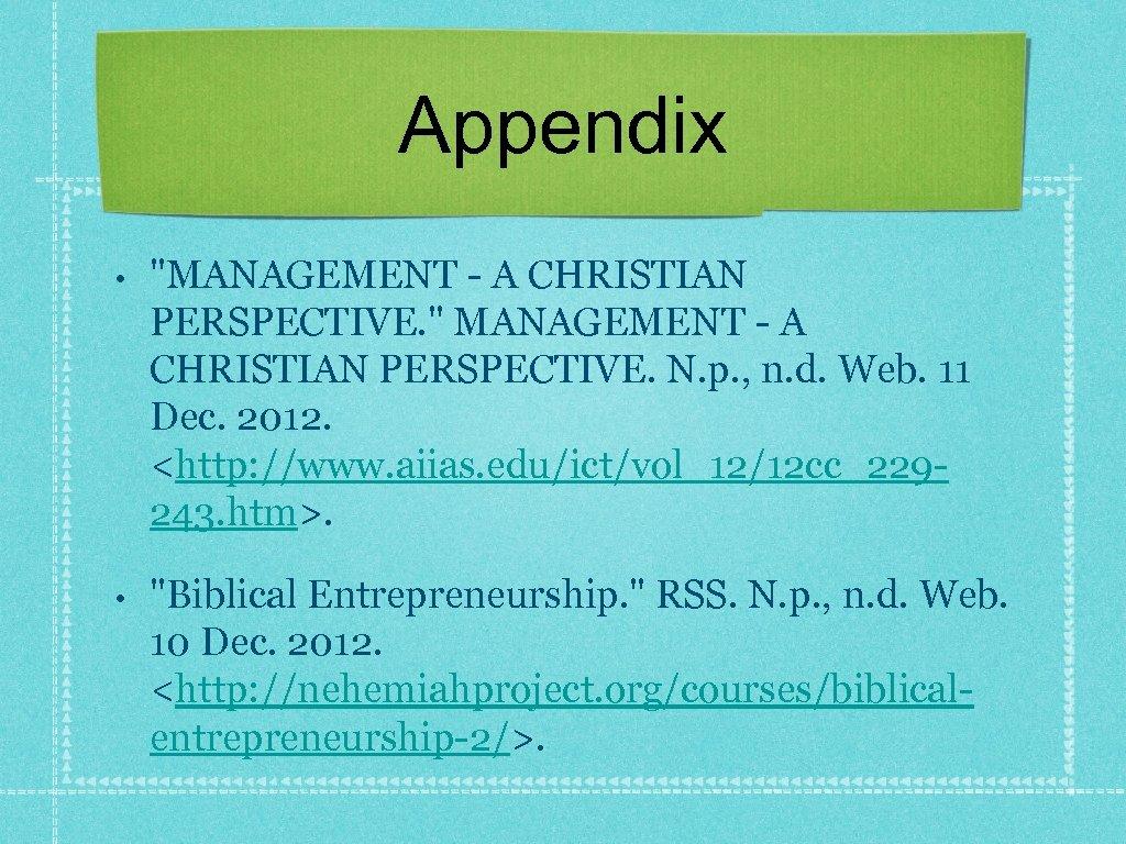 Appendix •