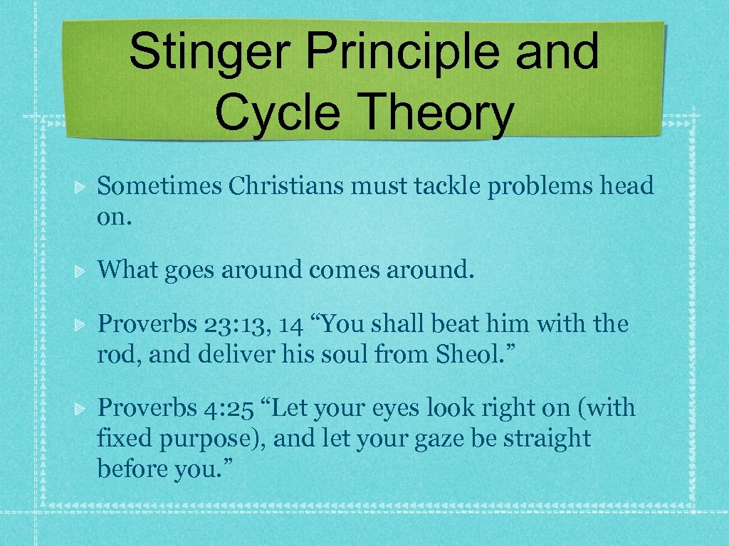 Stinger Principle and Cycle Theory Sometimes Christians must tackle problems head on. What goes