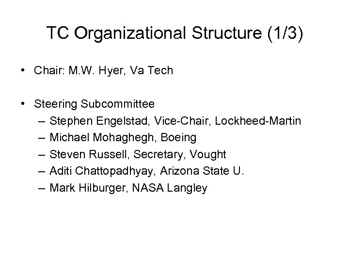 TC Organizational Structure (1/3) • Chair: M. W. Hyer, Va Tech • Steering Subcommittee
