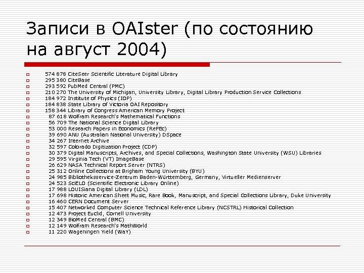 Записи в OAIster (по состоянию на август 2004) o o o o o o