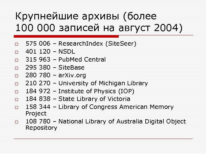 Крупнейшие архивы (более 100 000 записей на август 2004) o o o o o