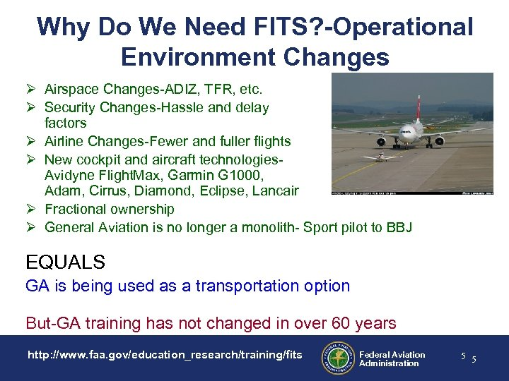 Why Do We Need FITS? -Operational Environment Changes Ø Airspace Changes-ADIZ, TFR, etc. Ø