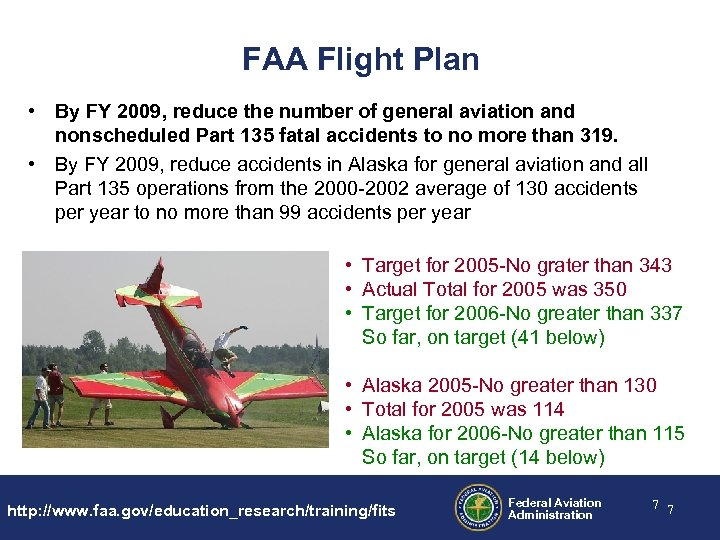 FAA Flight Plan • By FY 2009, reduce the number of general aviation and