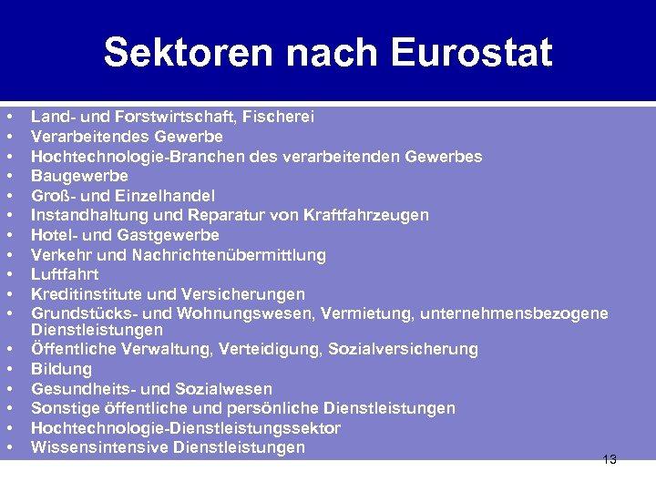 Sektoren nach Eurostat • • • • • Land- und Forstwirtschaft, Fischerei Verarbeitendes Gewerbe