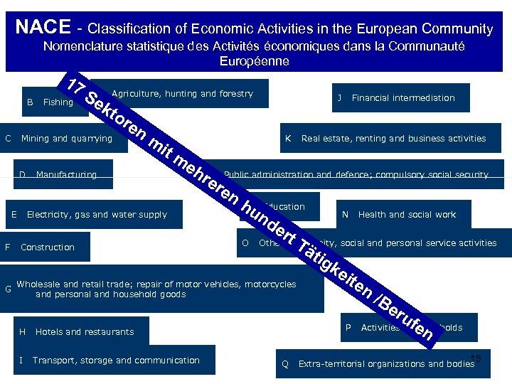 NACE - Classification of Economic Activities in the European Community Nomenclature statistique des Activités
