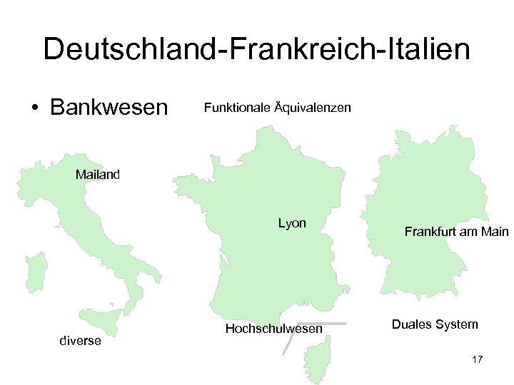 Deutschland-Frankreich-Italien • Bankwesen Funktionale Äquivalenzen Mailand Lyon diverse Hochschulwesen Frankfurt am Main Duales System