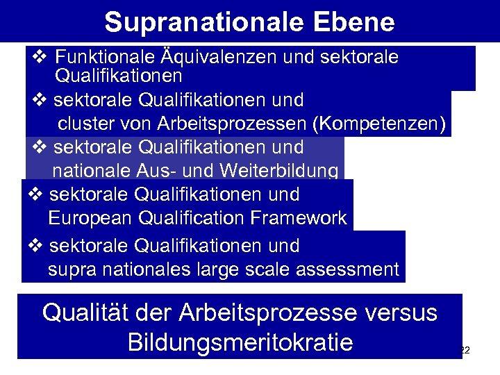Supranationale Ebene v Funktionale Äquivalenzen und sektorale Qualifikationen v sektorale Qualifikationen und cluster von