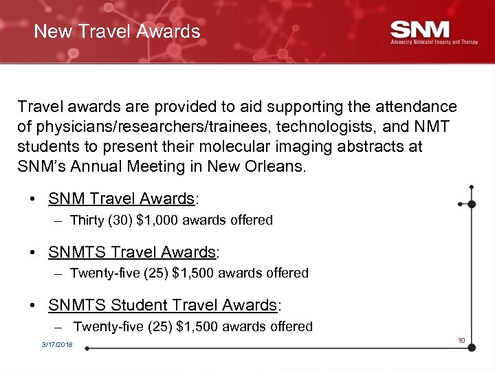 New Travel Awards Travel awards are provided to aid supporting the attendance of physicians/researchers/trainees,