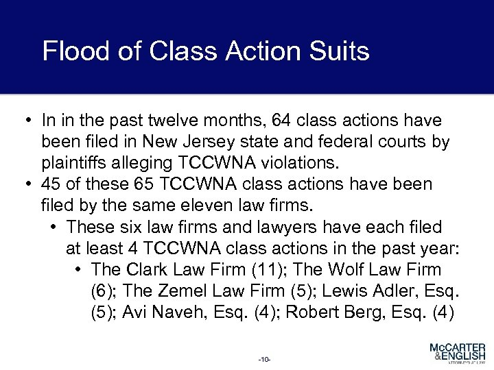Flood of Class Action Suits • In in the past twelve months, 64 class