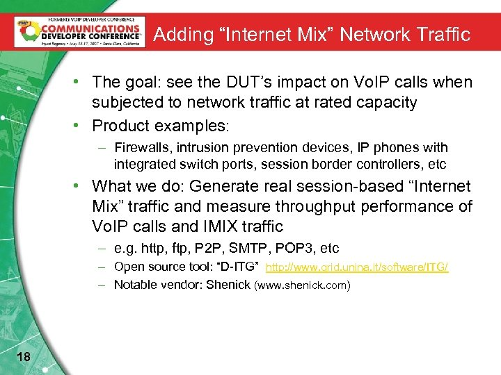 "Adding ""Internet Mix"" Network Traffic • The goal: see the DUT's impact on Vo."