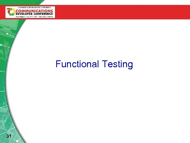 Test. Functional Testing Automation Setups 31