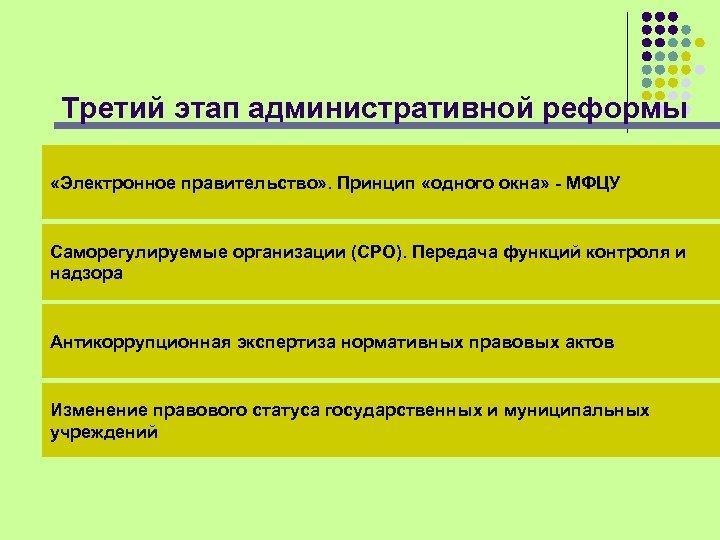 Третий этап административной реформы «Электронное правительство» . Принцип «одного окна» - МФЦУ Саморегулируемые организации