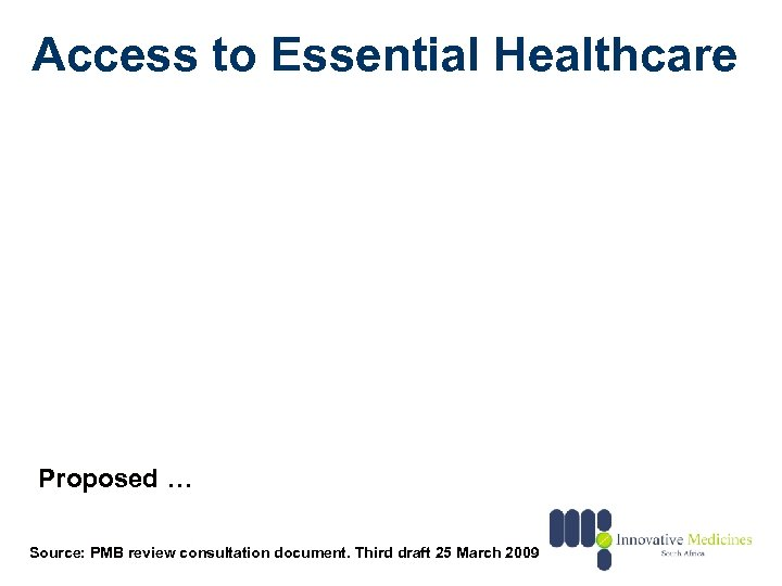 Access to Essential Healthcare Proposed … Source: PMB review consultation document. Third draft 25