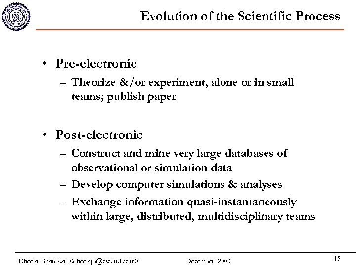 Evolution of the Scientific Process • Pre-electronic – Theorize &/or experiment, alone or in