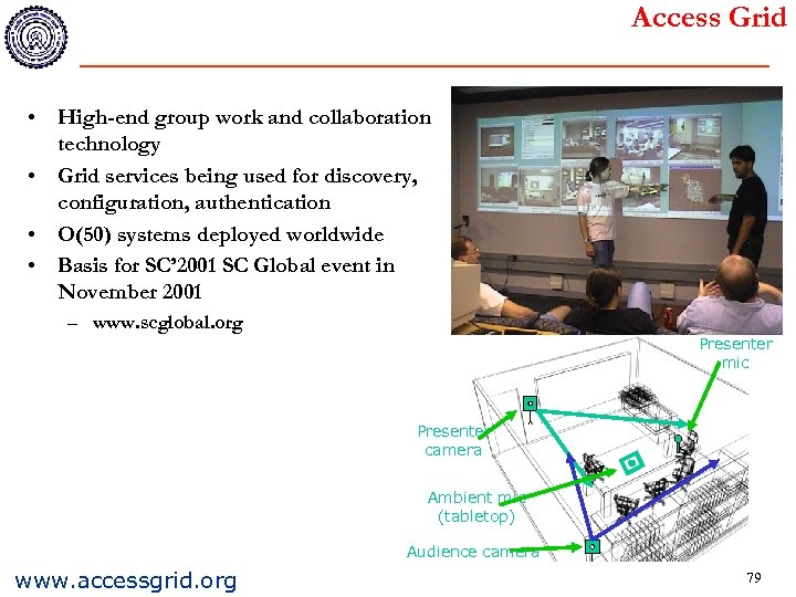 Access Grid • High-end group work and collaboration technology • Grid services being used