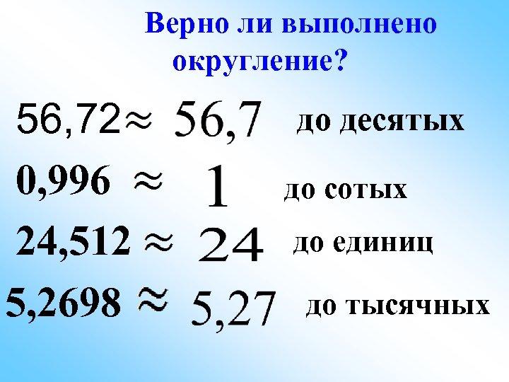 Верно ли выполнено округление? 56, 72 0, 996 24, 512 5, 2698 до десятых