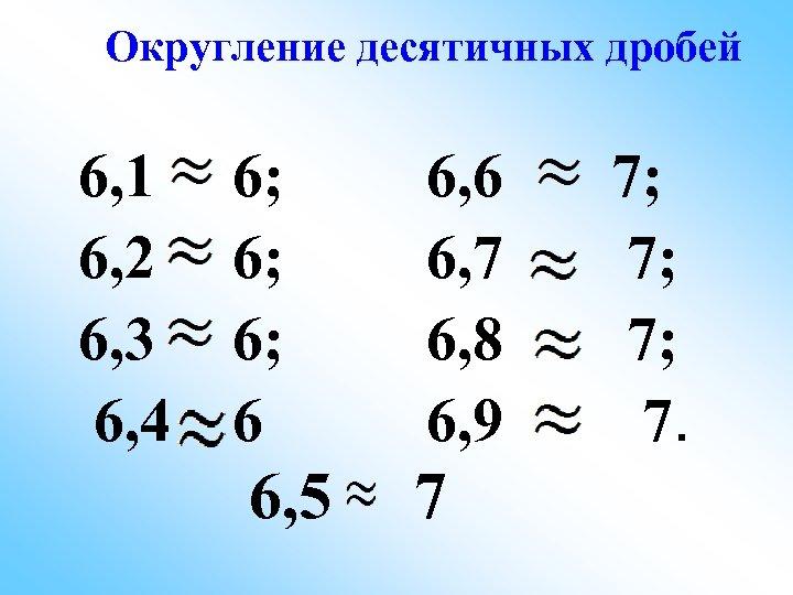 Округление десятичных дробей 6, 1 6; 6, 2 6; 6, 3 6; 6, 4