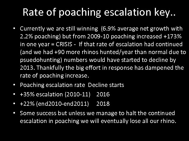 Rate of poaching escalation key. . • Currently we are still winning (6. 9%