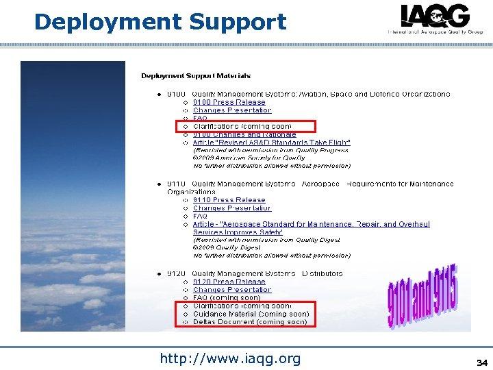 Deployment Support http: //www. iaqg. org 34