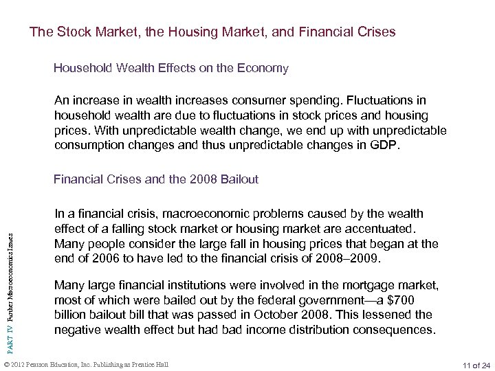The Stock Market, the Housing Market, and Financial Crises Household Wealth Effects on the