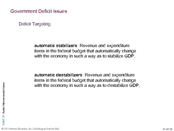 Government Deficit Issues Deficit Targeting PART IV Further Macroeconomics Issues automatic stabilizers Revenue and